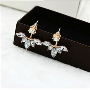 Jewelry - Crystal Gold Plated Leaf Jacket Stud Earrings
